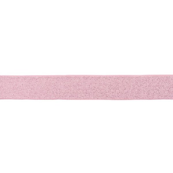 Glitter elastiek 25 mm rose zilver